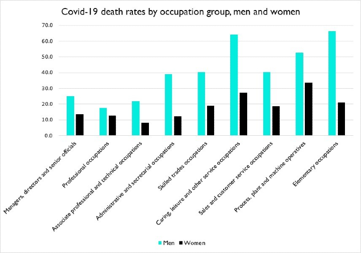 Covid-19 death rates by occupation group