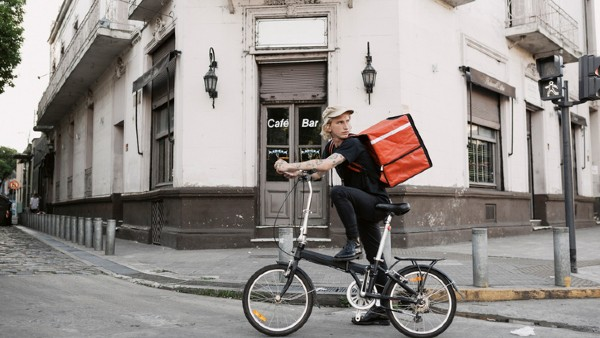 Food courier in the city