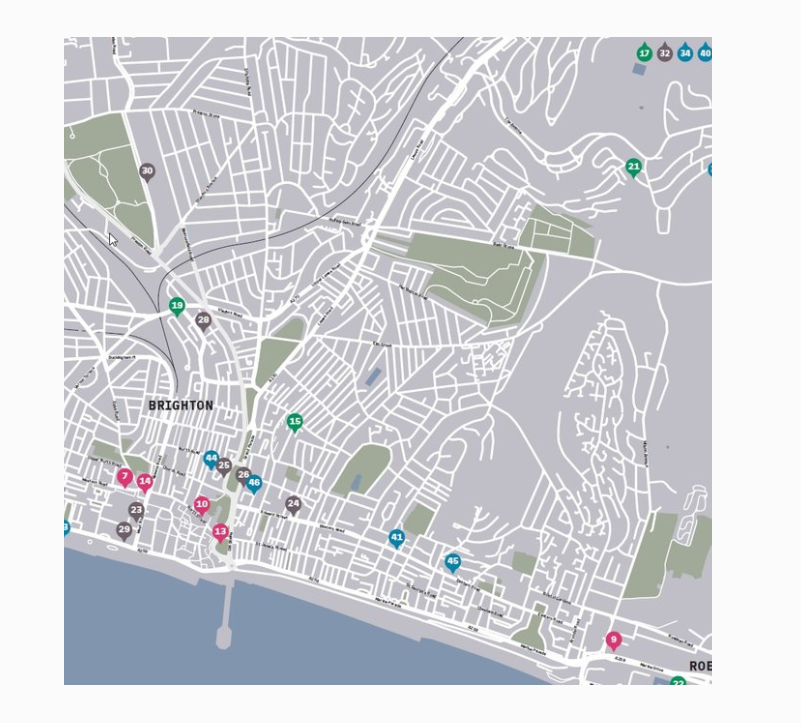 A map of the modern Brighton Hove RSA