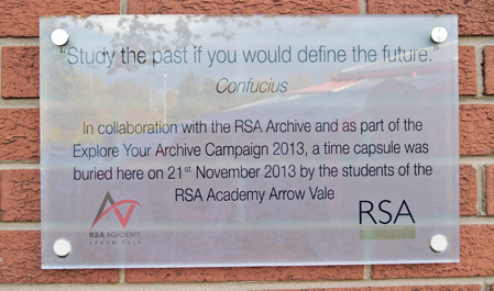 RSA Arrow Vale Academy timecapsule