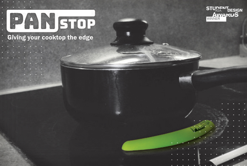 Image of pan stop: a silicon edge to stop pans sliding