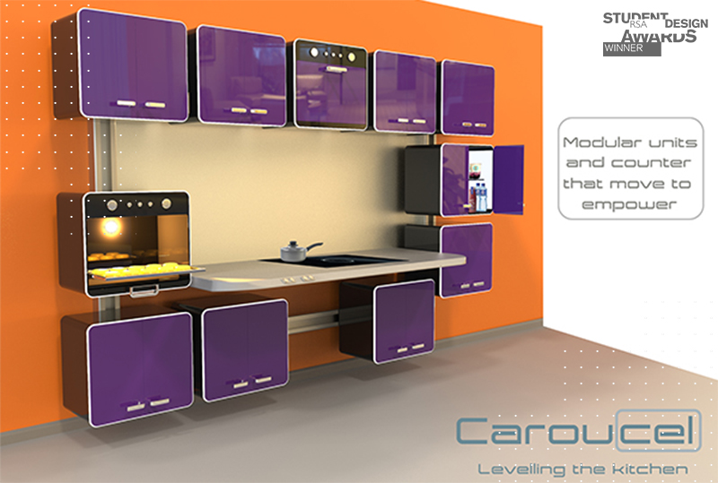 A rendering of Caroucel: kitchen units that revolve to save space