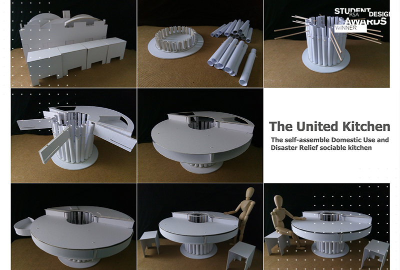 Images of The United Kitchen: space efficient circular kitchen units that fold away