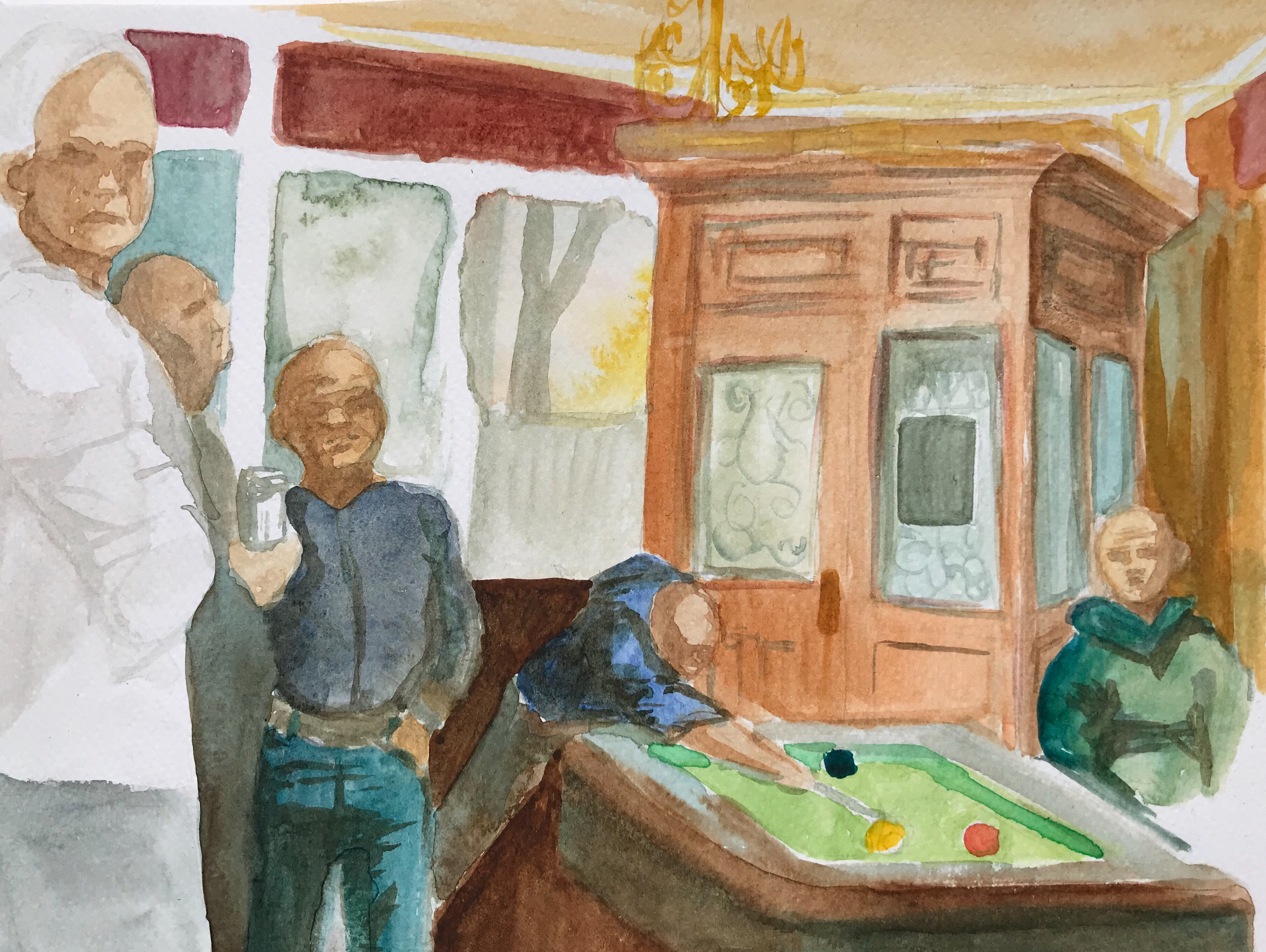 Watercolor painting of several men playing pool in a pub