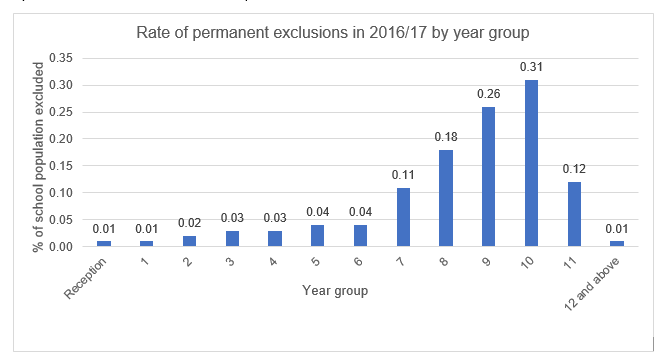 Graph showing rates of permanent exclusions by year group with significant increases between Years 6 and 10 and a drop off in Year 11