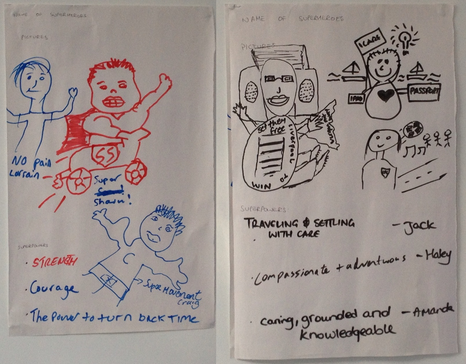 Here are some of the superhero creations that participants of the RSA's West Kent Recovery Programme came up with