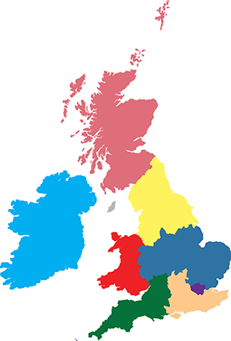 Fellowship UK Areas map