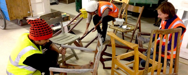 A chair reclamation workshop at The Remakery