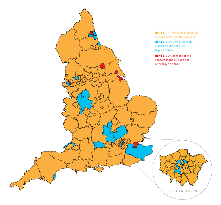 Access to triple science varies across England
