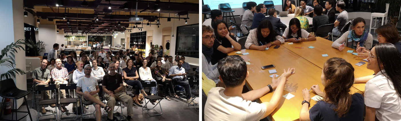 Participants at the showing of Closing the Loop (left) and the City as Ecosystem breakout discussion (right).
