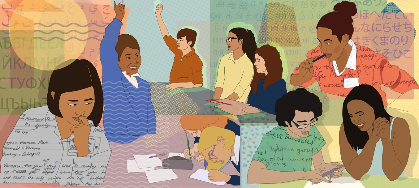 Illustration by Caterina Miralles Tagliabue: school pupils contributing to classroom discussions or working independently